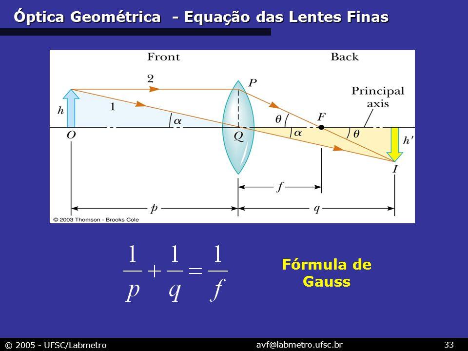 © 2005 - UFSC/Labmetro avf@labmetro.ufsc.br33 Óptica Geométrica - Equação das Lentes Finas Fórmula de Gauss
