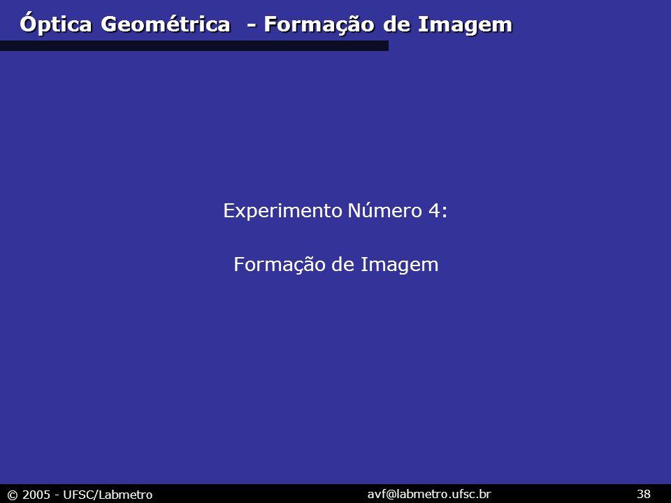 © 2005 - UFSC/Labmetro avf@labmetro.ufsc.br38 Óptica Geométrica - Formação de Imagem Experimento Número 4: Formação de Imagem