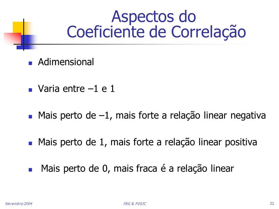 Nevembro/2004 FEG & FOSJC 22 Aspectos do Coeficiente de Correlação Adimensional Varia entre –1 e 1 Mais perto de –1, mais forte a relação linear negat