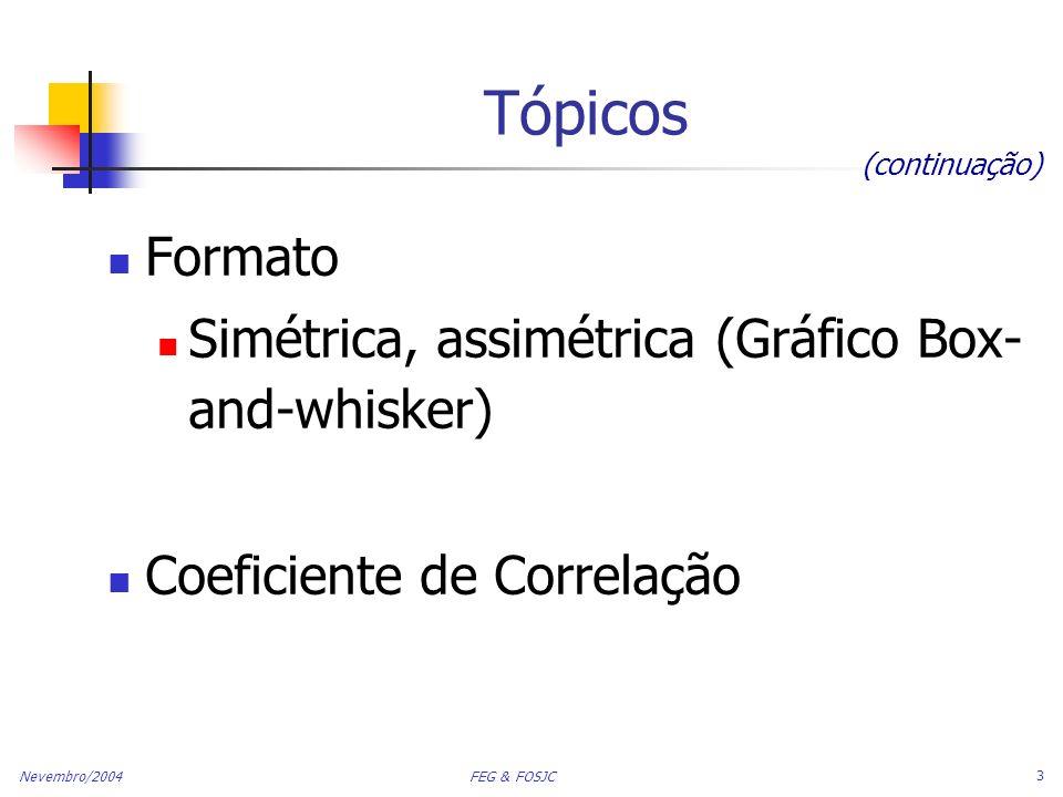 Nevembro/2004 FEG & FOSJC 3 Tópicos Formato Simétrica, assimétrica (Gráfico Box- and-whisker) Coeficiente de Correlação (continuação)