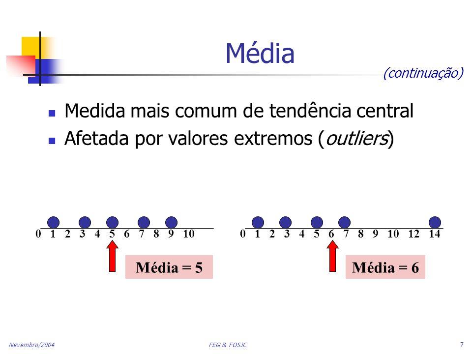 Nevembro/2004 FEG & FOSJC 8 Mediana Medida Robusta de Tendência Central Não é afetada por valores extremos Numa disposição ordenada, a mediana é o valor do meio se n, or N, é ímpar, a mediana é o número do meio da seqüência If n, or N, é par, a mediana é a média dos dois números centrais 0 1 2 3 4 5 6 7 8 9 100 1 2 3 4 5 6 7 8 9 10 12 14 Mediana = 5