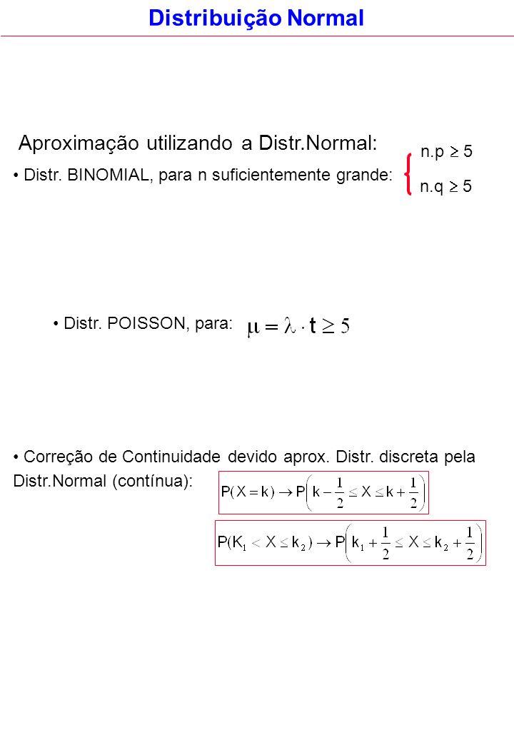 Distr. BINOMIAL, para n suficientemente grande: n.p 5 Distribuição Normal n.q 5 Aproximação utilizando a Distr.Normal: Distr. POISSON, para: Correção