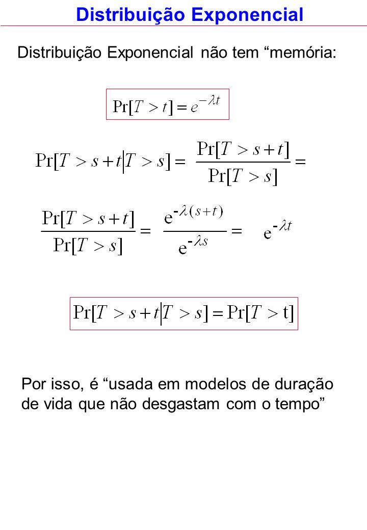 Distribuição Exponencial Distribuição Exponencial não tem memória: Por isso, é usada em modelos de duração de vida que não desgastam com o tempo