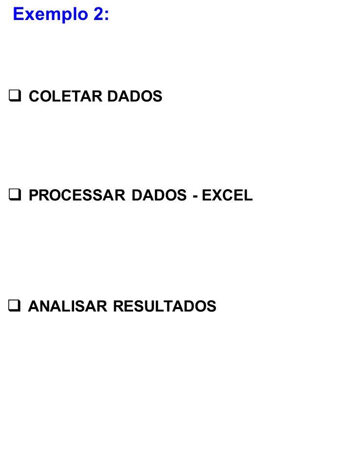 Exemplo 2: COLETAR DADOS PROCESSAR DADOS - EXCEL ANALISAR RESULTADOS