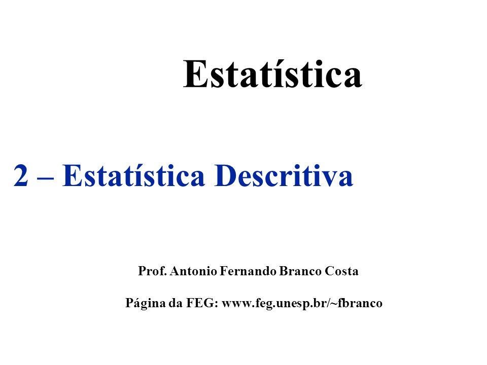 Estatística 2 – Estatística Descritiva Prof. Antonio Fernando Branco Costa Página da FEG: www.feg.unesp.br/~fbranco