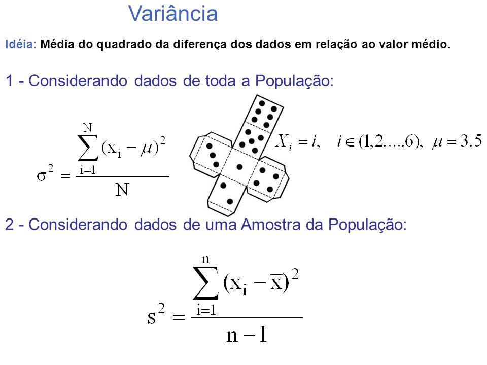 Idéia: Média do quadrado da diferença dos dados em relação ao valor médio. Variância 1 - Considerando dados de toda a População: 2 - Considerando dado