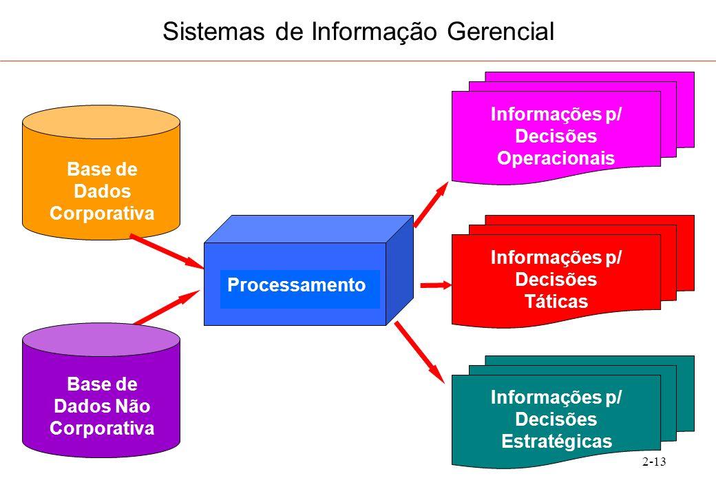 2-14 Sistemas de Informação Gerencial Ênfase: Flexibilidade Adaptabilidade Rapidez Interface: amigável ao usuário (facilidade de processamento gráfico) Intensiva Utilização de Redes: Intranet Internet, etc.