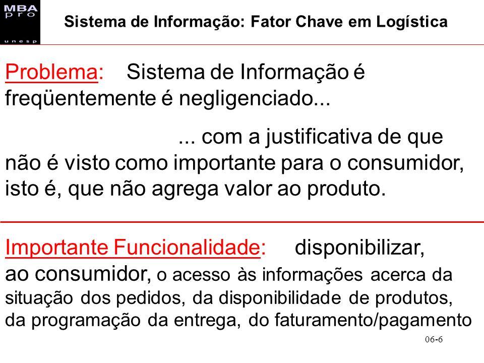 06-6 Problema: Sistema de Informação é freqüentemente é negligenciado...... com a justificativa de que não é visto como importante para o consumidor,