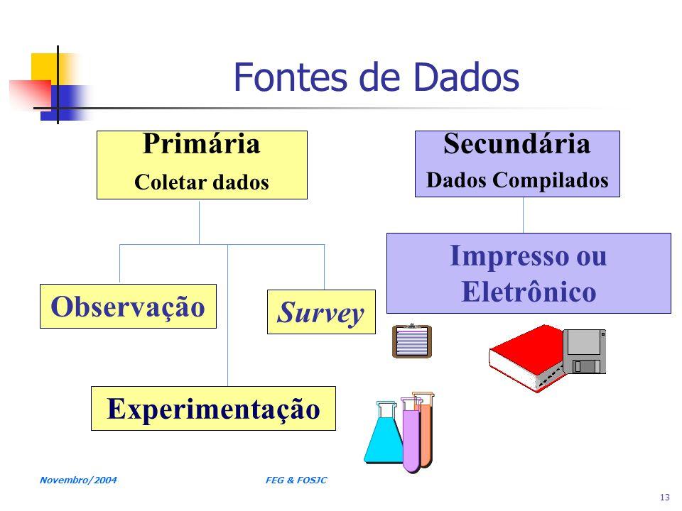 Novembro/2004 FEG & FOSJC 13 Fontes de Dados Primária Coletar dados Secundária Dados Compilados Observação Experimentação Survey Impresso ou Eletrônic