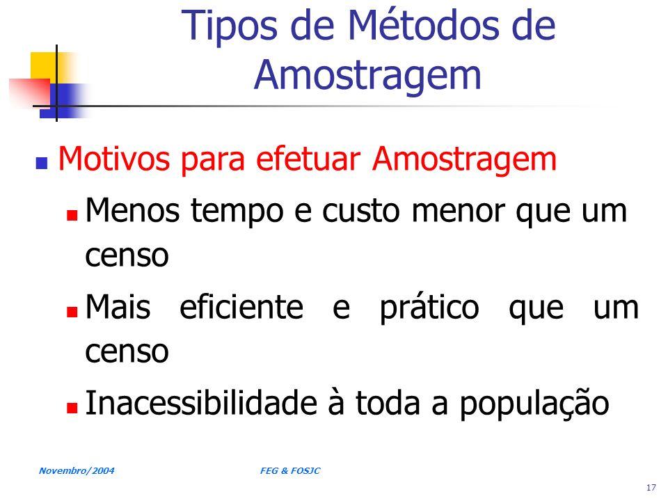 Novembro/2004 FEG & FOSJC 17 Tipos de Métodos de Amostragem Motivos para efetuar Amostragem Menos tempo e custo menor que um censo Mais eficiente e pr