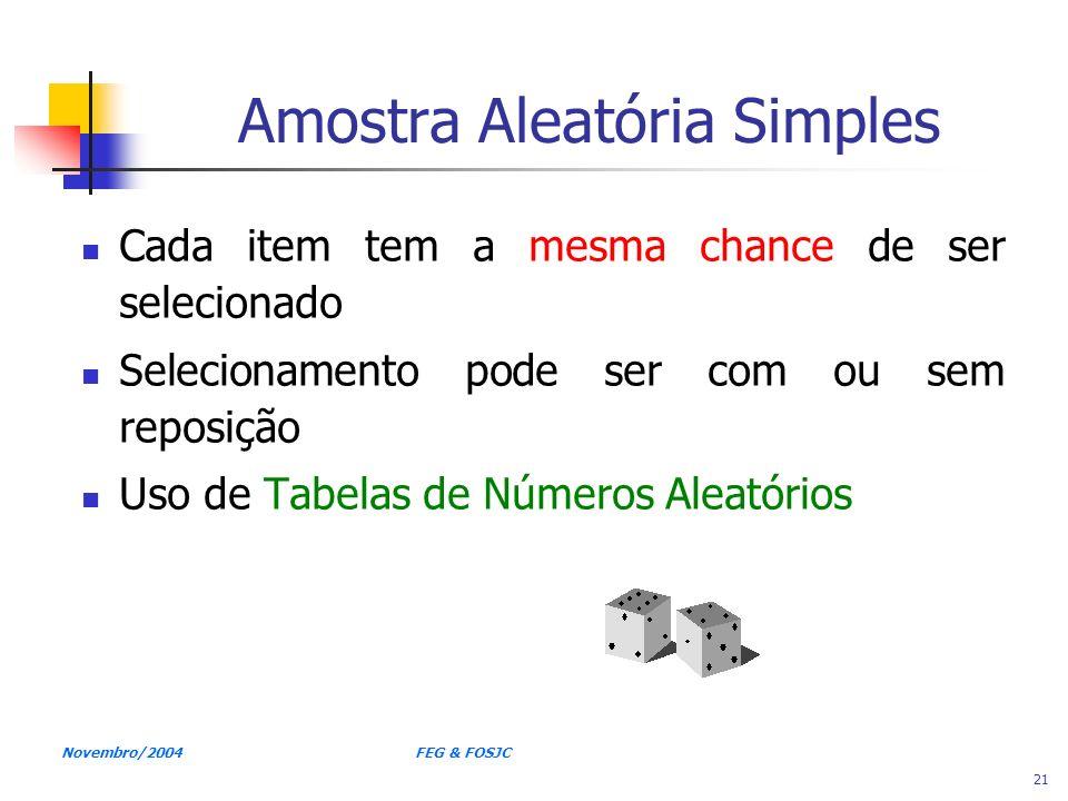 Novembro/2004 FEG & FOSJC 21 Amostra Aleatória Simples Cada item tem a mesma chance de ser selecionado Selecionamento pode ser com ou sem reposição Us