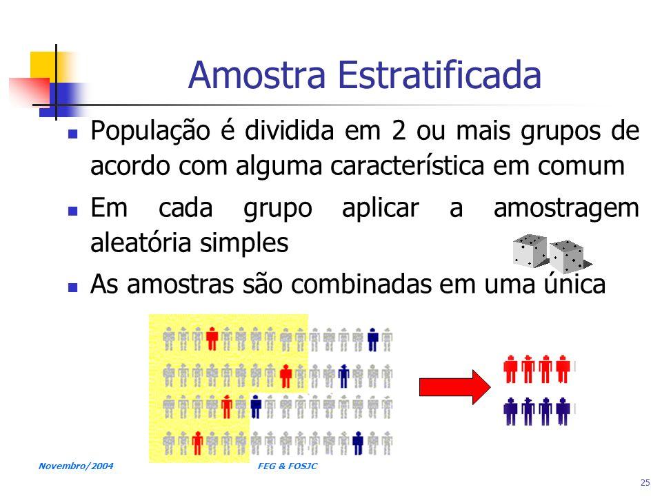 Novembro/2004 FEG & FOSJC 25 Amostra Estratificada População é dividida em 2 ou mais grupos de acordo com alguma característica em comum Em cada grupo