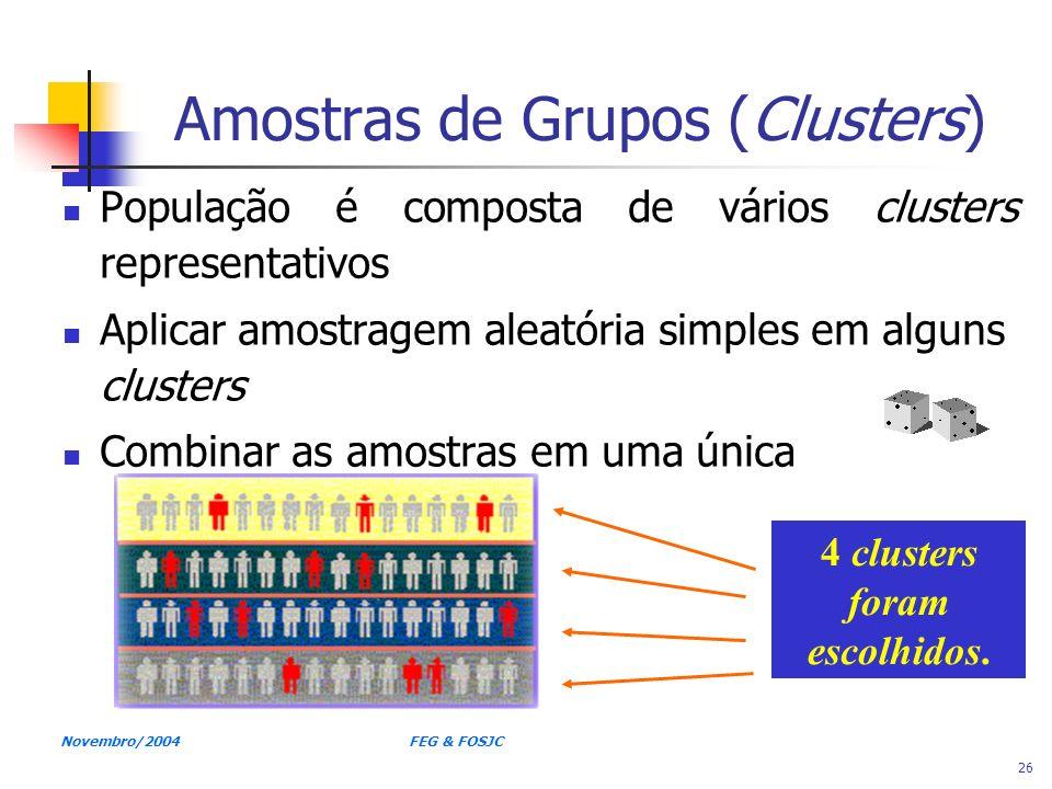 Novembro/2004 FEG & FOSJC 26 Amostras de Grupos (Clusters) População é composta de vários clusters representativos Aplicar amostragem aleatória simple