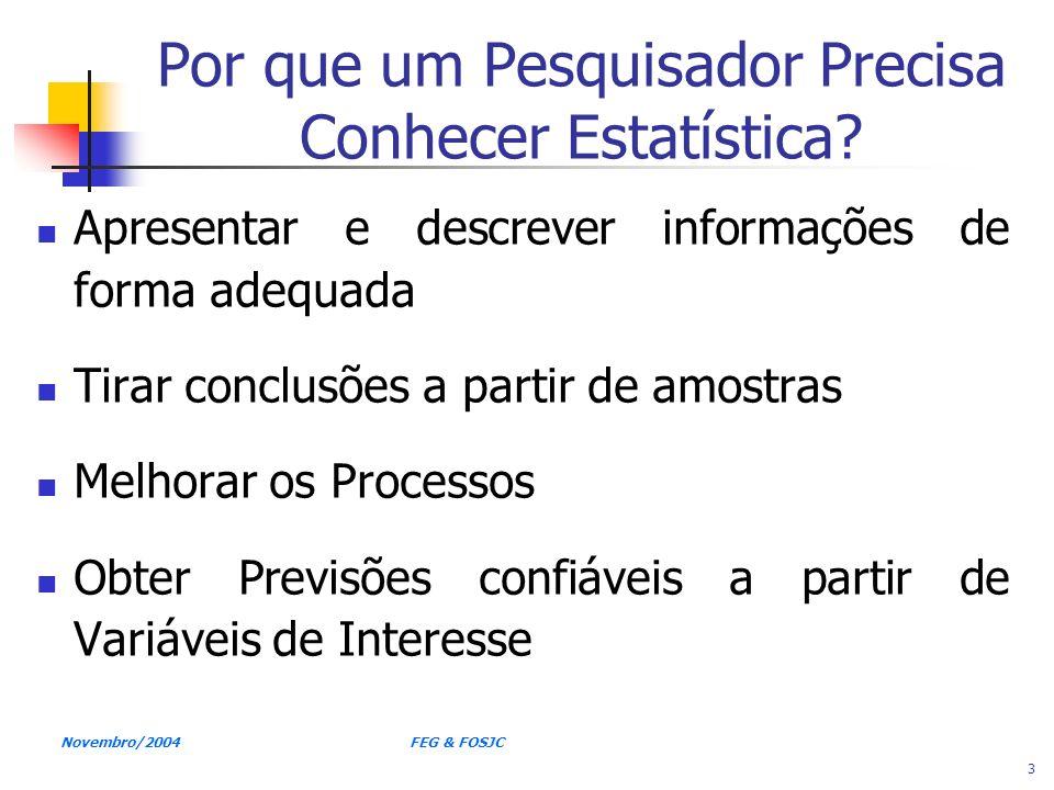 Novembro/2004 FEG & FOSJC 3 Por que um Pesquisador Precisa Conhecer Estatística? Apresentar e descrever informações de forma adequada Tirar conclusões