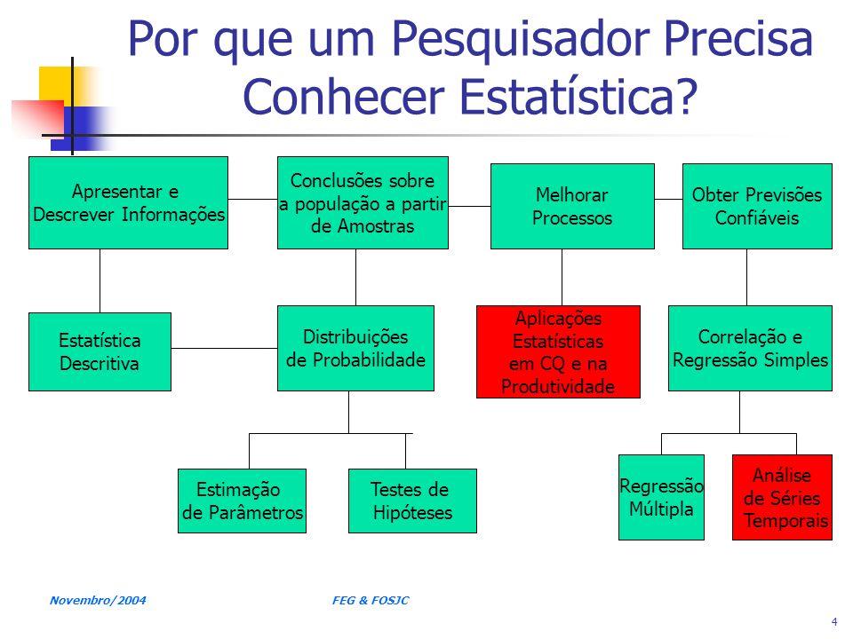 Novembro/2004 FEG & FOSJC 5 O Crescimento e o Desenvolvimento da Estatística Moderna Últimos 30 anos de Estatística: Mainframes (1960 – 1970): SAS, SPSS Microcomputadores (1980 – hoje): Pacotes: SAS, SPSS, MINITAB, STATISTICA, STATGRAPHICS Planilhas: VISICALC (1979) LOTUS 1-2-3 (1983), EXCEL (Microsoft Office – integra planilha de cálculo, editor de texto e gráficos)
