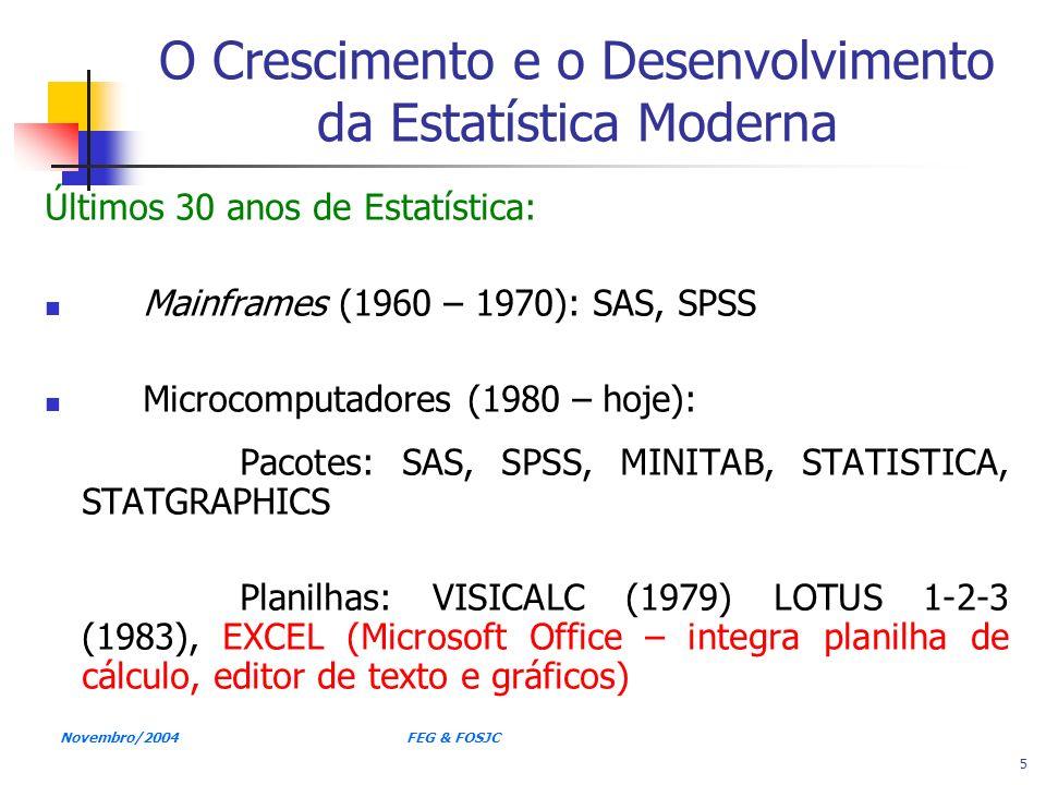 Novembro/2004 FEG & FOSJC 5 O Crescimento e o Desenvolvimento da Estatística Moderna Últimos 30 anos de Estatística: Mainframes (1960 – 1970): SAS, SP