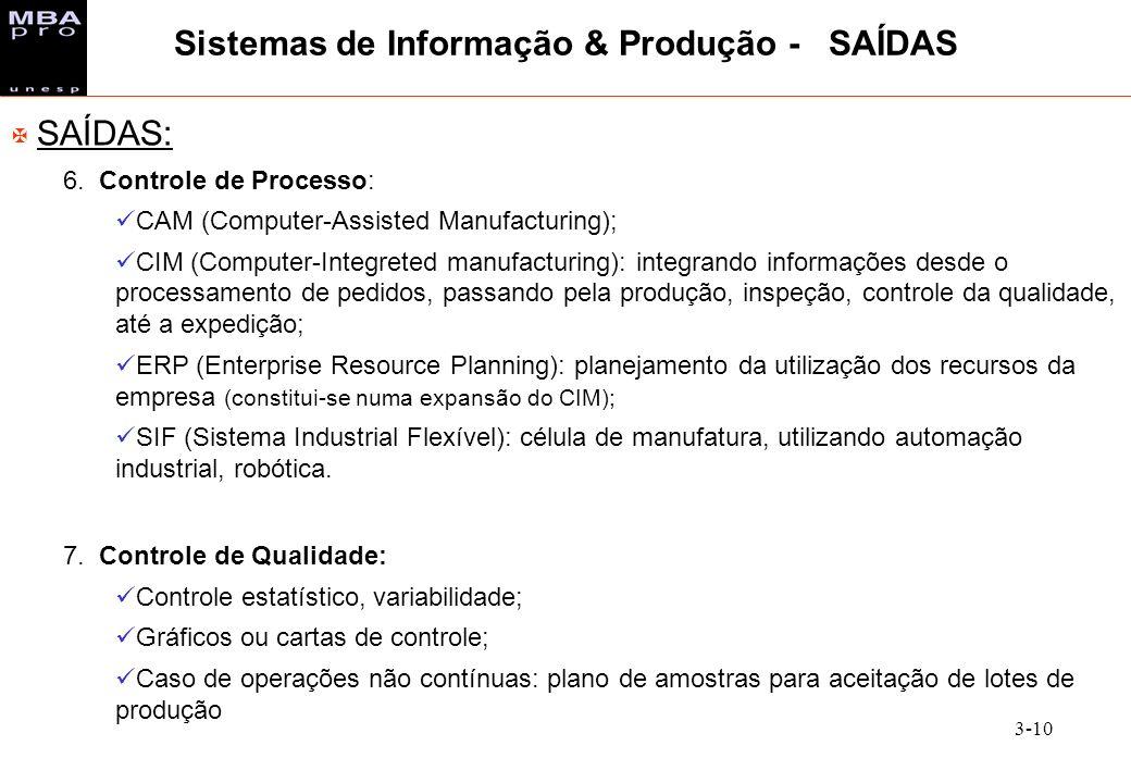 3-10 X SAÍDAS: 6. Controle de Processo: CAM (Computer-Assisted Manufacturing); CIM (Computer-Integreted manufacturing): integrando informações desde o