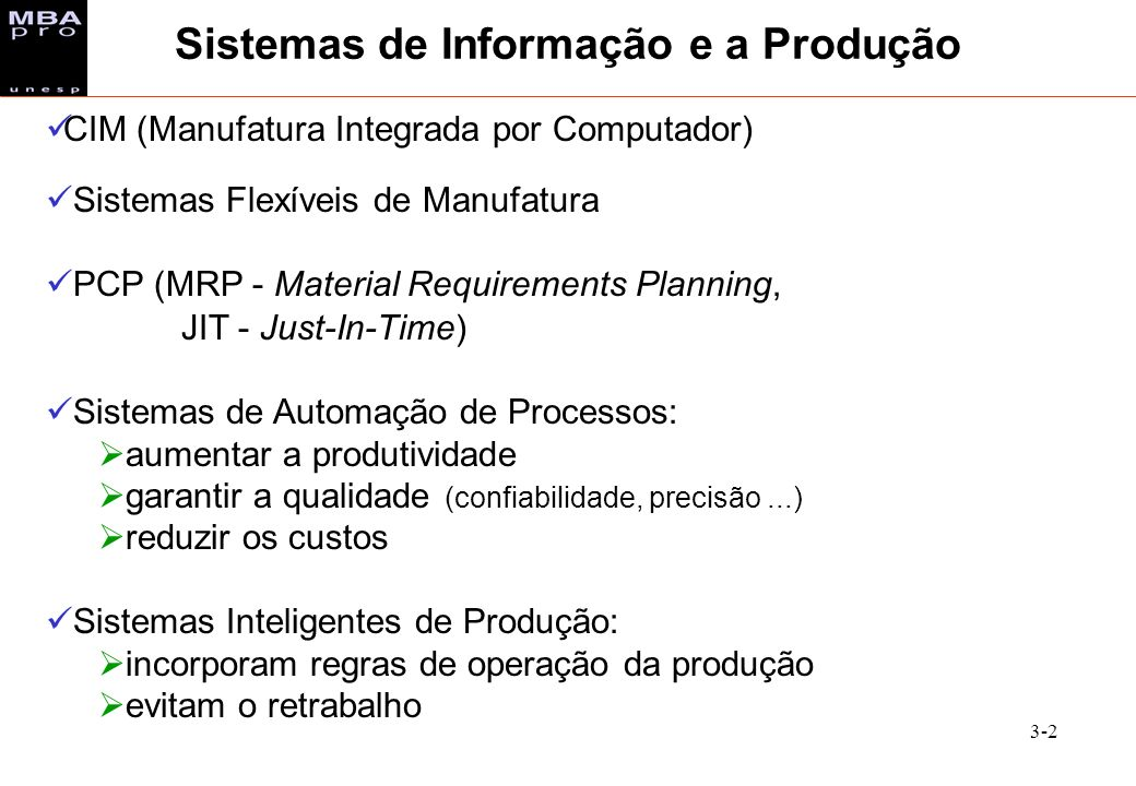 3-2 CIM (Manufatura Integrada por Computador) Sistemas Flexíveis de Manufatura PCP (MRP - Material Requirements Planning, JIT - Just-In-Time) Sistemas