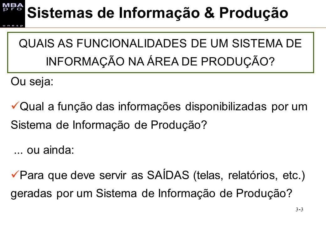 3-3 Sistemas de Informação & Produção QUAIS AS FUNCIONALIDADES DE UM SISTEMA DE INFORMAÇÃO NA ÁREA DE PRODUÇÃO? Ou seja: Qual a função das informações