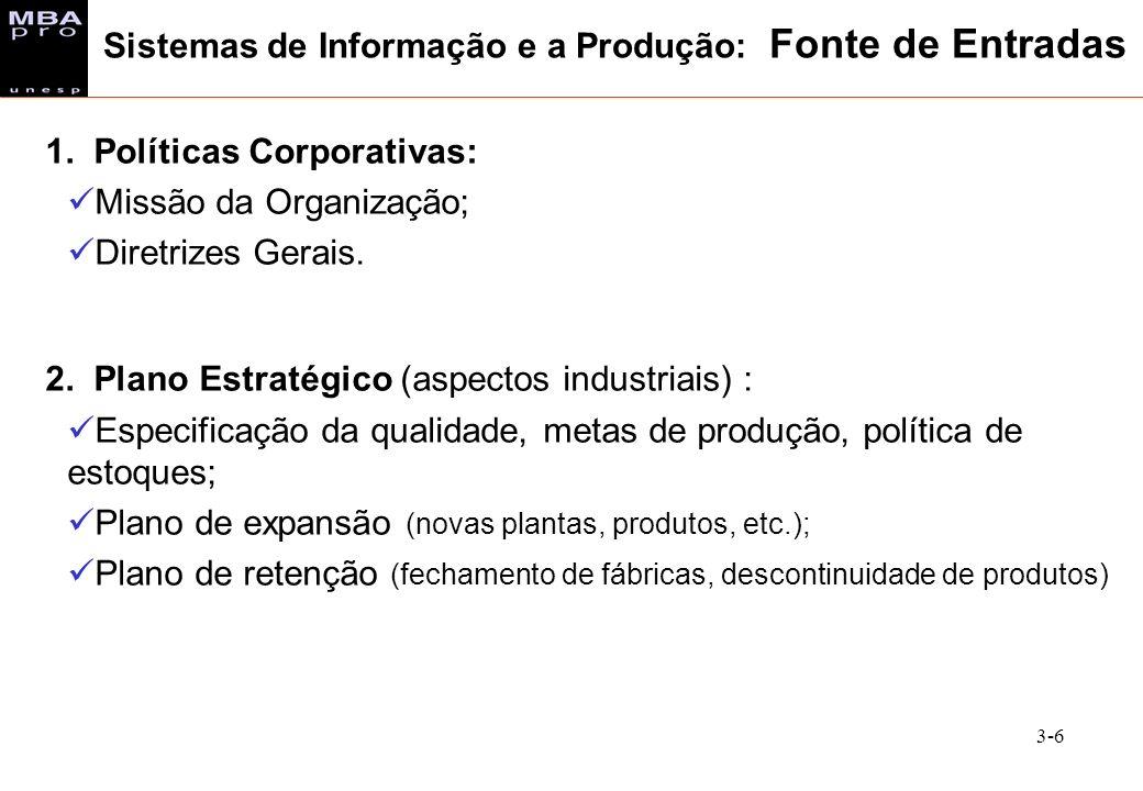 3-6 1. Políticas Corporativas: Missão da Organização; Diretrizes Gerais. 2. Plano Estratégico (aspectos industriais) : Especificação da qualidade, met