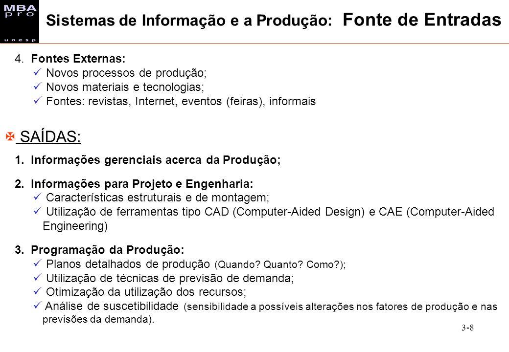 3-8 4. Fontes Externas: Novos processos de produção; Novos materiais e tecnologias; Fontes: revistas, Internet, eventos (feiras), informais X SAÍDAS: