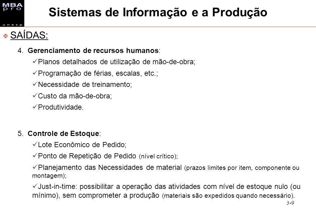 3-9 X SAÍDAS: 4. Gerenciamento de recursos humanos: Planos detalhados de utilização de mão-de-obra; Programação de férias, escalas, etc.; Necessidade