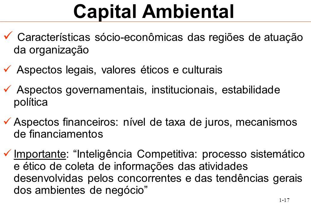 1-17 Capital Ambiental Características sócio-econômicas das regiões de atuação da organização Aspectos legais, valores éticos e culturais Aspectos gov