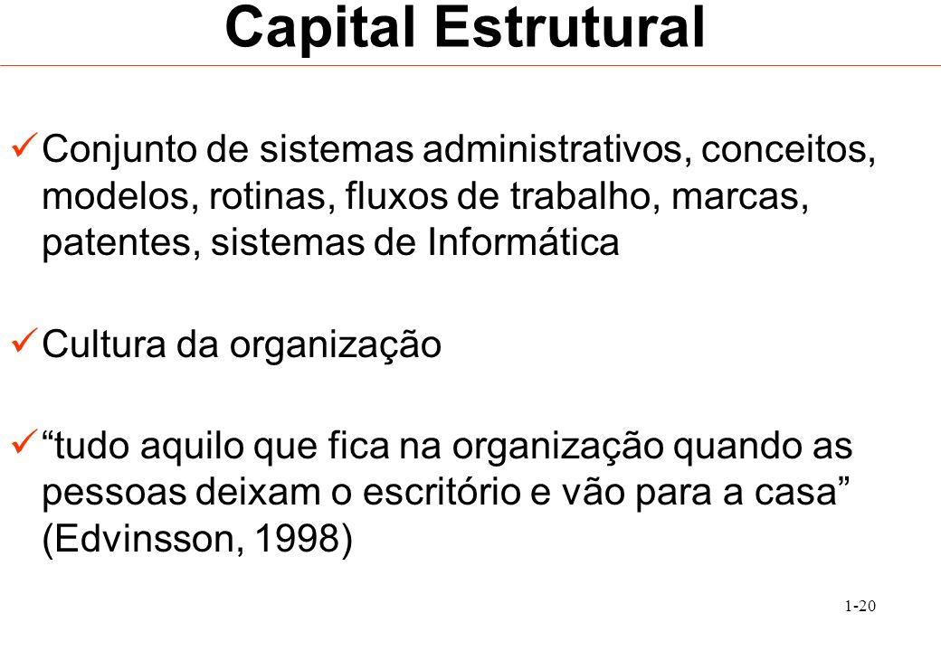 1-20 Capital Estrutural Conjunto de sistemas administrativos, conceitos, modelos, rotinas, fluxos de trabalho, marcas, patentes, sistemas de Informáti