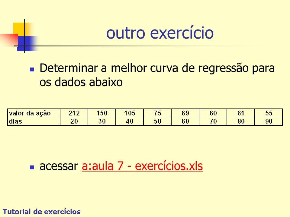 Tutorial de exercícios outro exercício Determinar a melhor curva de regressão para os dados abaixo acessar a:aula 7 - exercícios.xlsa:aula 7 - exercíc