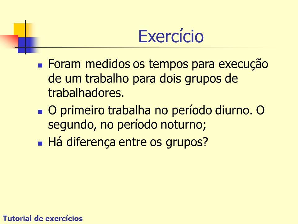 Tutorial de exercícios Exercício Foram medidos os tempos para execução de um trabalho para dois grupos de trabalhadores. O primeiro trabalha no períod