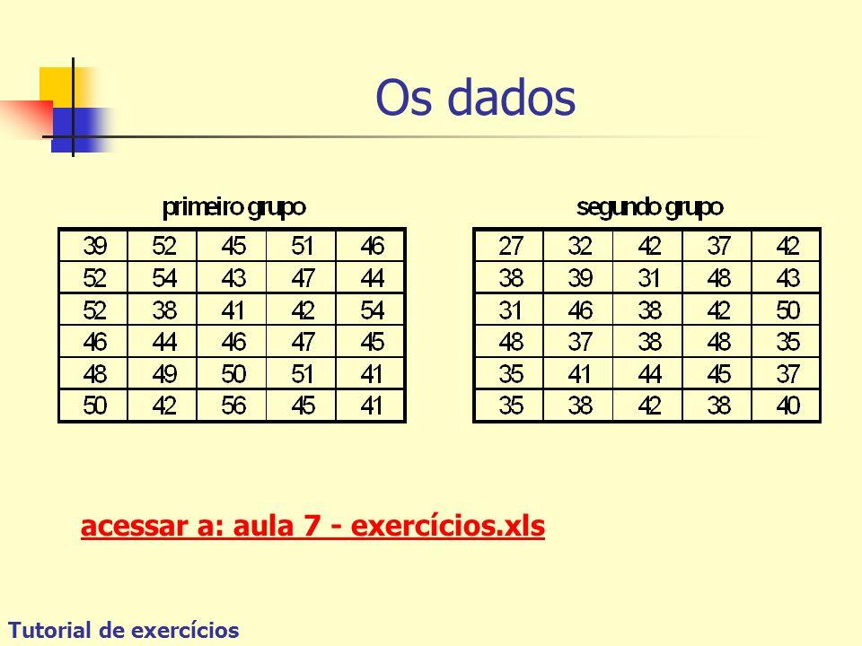 Tutorial de exercícios Os dados acessar a: aula 7 - exercícios.xls