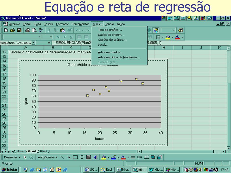 Tutorial de exercícios Equação e reta de regressão