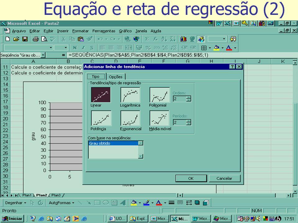 Tutorial de exercícios Equação e reta de regressão (2)