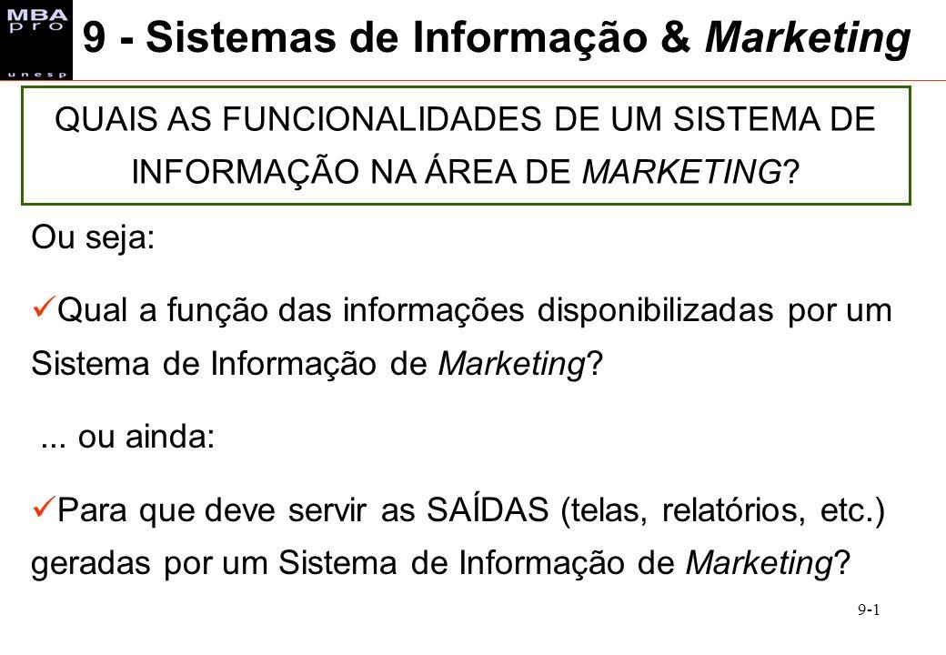 9-1 9 - Sistemas de Informação & Marketing QUAIS AS FUNCIONALIDADES DE UM SISTEMA DE INFORMAÇÃO NA ÁREA DE MARKETING? Ou seja: Qual a função das infor