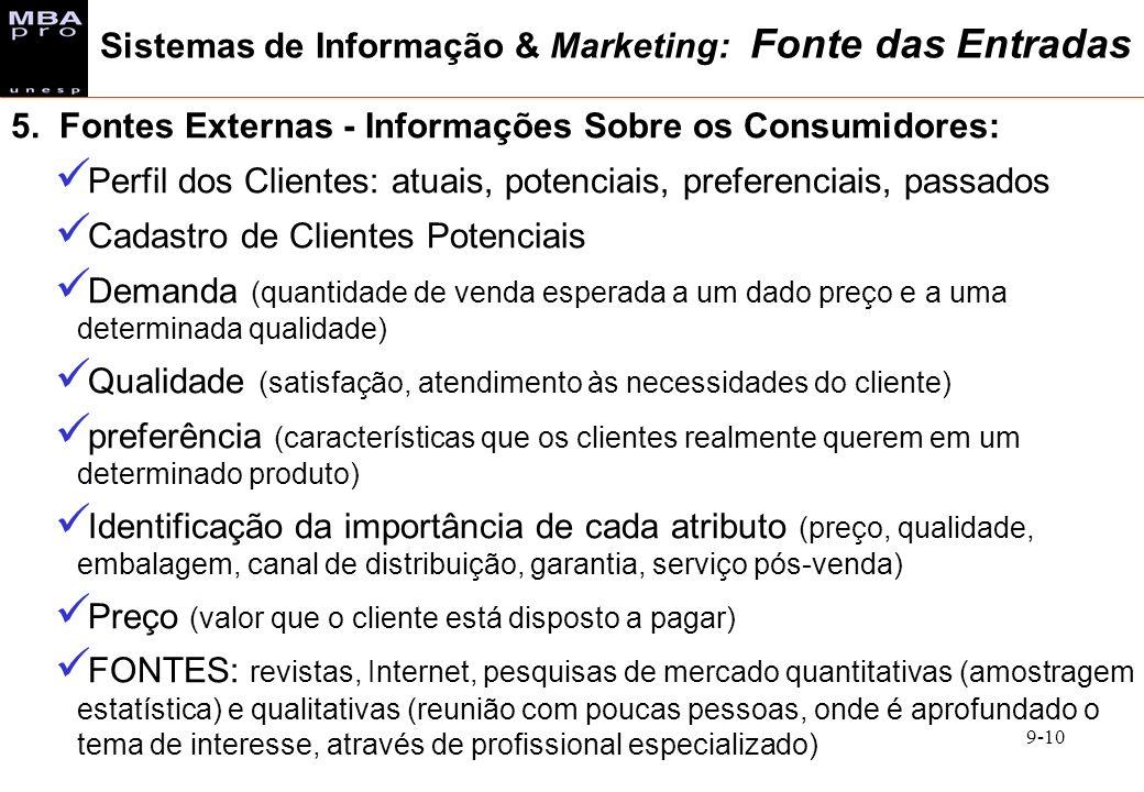 9-10 5. Fontes Externas - Informações Sobre os Consumidores: Perfil dos Clientes: atuais, potenciais, preferenciais, passados Cadastro de Clientes Pot