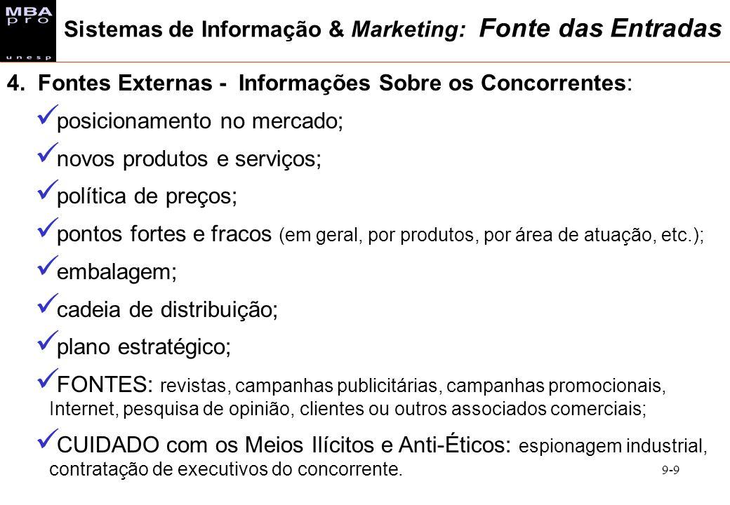 9-9 4. Fontes Externas - Informações Sobre os Concorrentes: posicionamento no mercado; novos produtos e serviços; política de preços; pontos fortes e