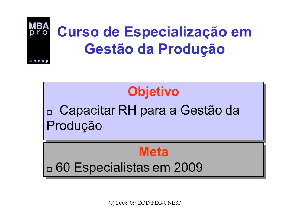 (c) 2008-09 DPD/FEG/UNESP Curso de Especialização em Gestão da Produção Objetivo o Capacitar RH para a Gestão da Produção Objetivo o Capacitar RH para