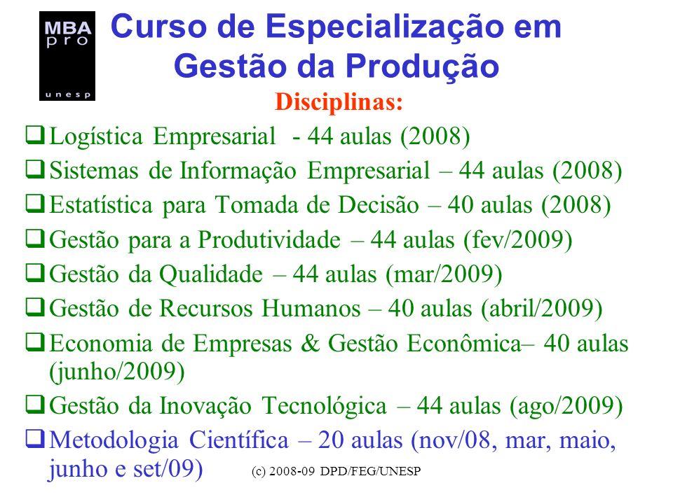 (c) 2008-09 DPD/FEG/UNESP Curso de Especialização em Gestão da Produção Disciplinas: Logística Empresarial - 44 aulas (2008) Sistemas de Informação Em