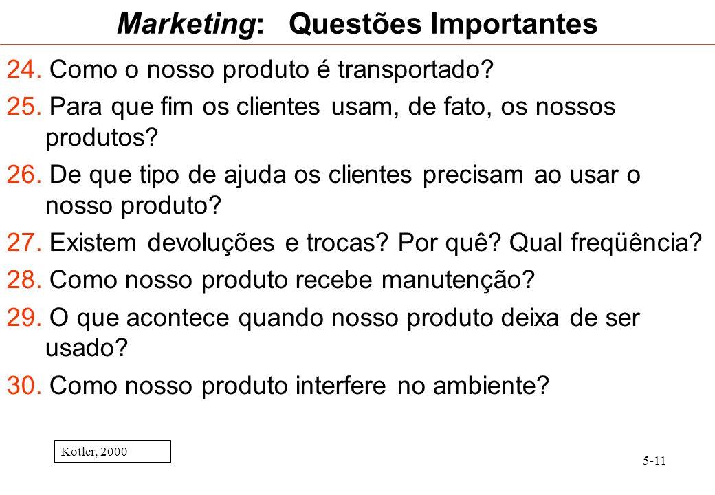 5-11 Marketing: Questões Importantes 24. Como o nosso produto é transportado? 25. Para que fim os clientes usam, de fato, os nossos produtos? 26. De q