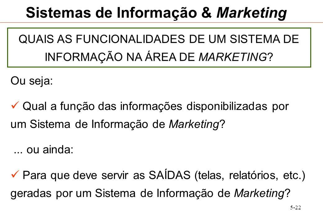 5-22 Sistemas de Informação & Marketing QUAIS AS FUNCIONALIDADES DE UM SISTEMA DE INFORMAÇÃO NA ÁREA DE MARKETING? Ou seja: Qual a função das informaç