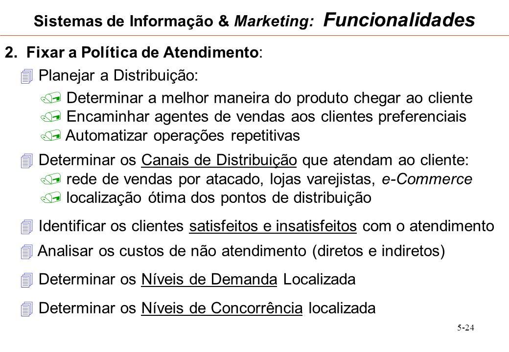 5-24 Sistemas de Informação & Marketing: Funcionalidades 2. Fixar a Política de Atendimento: Planejar a Distribuição: Determinar a melhor maneira do p