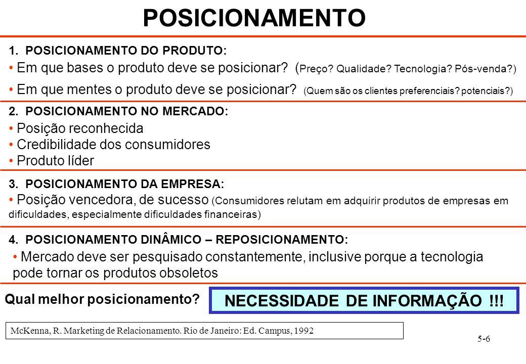 5-6 POSICIONAMENTO 1. POSICIONAMENTO DO PRODUTO: Em que bases o produto deve se posicionar? ( Preço? Qualidade? Tecnologia? Pós-venda?) Posição reconh