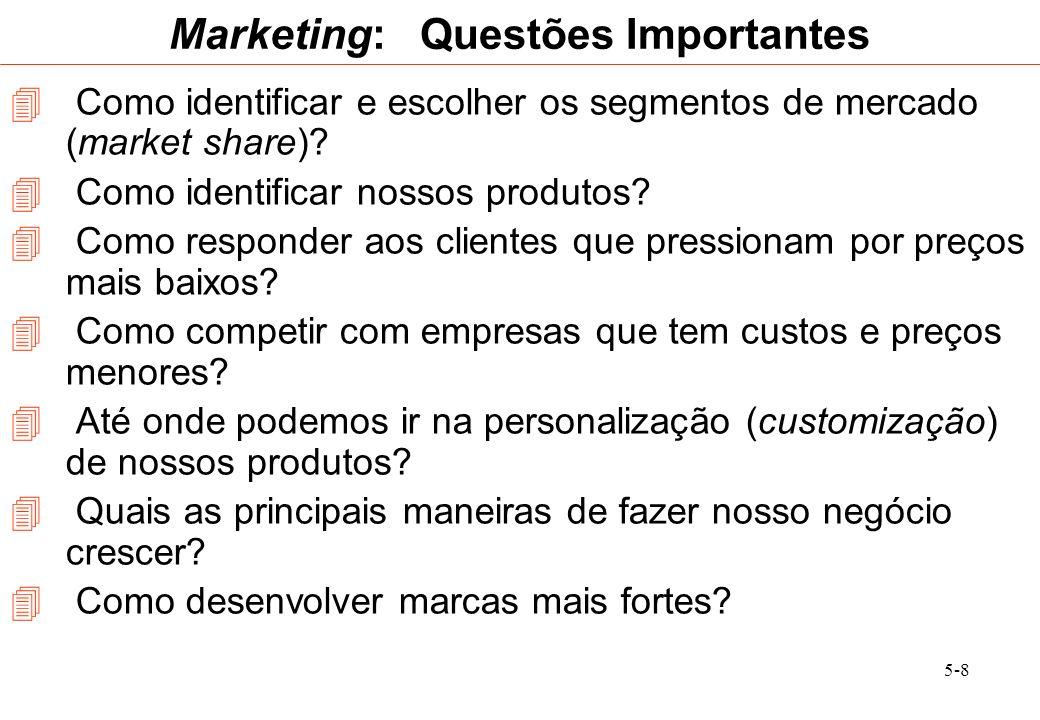 5-9 Marketing: Questões Importantes 8.Como reduzir o custo da conquista de clientes.