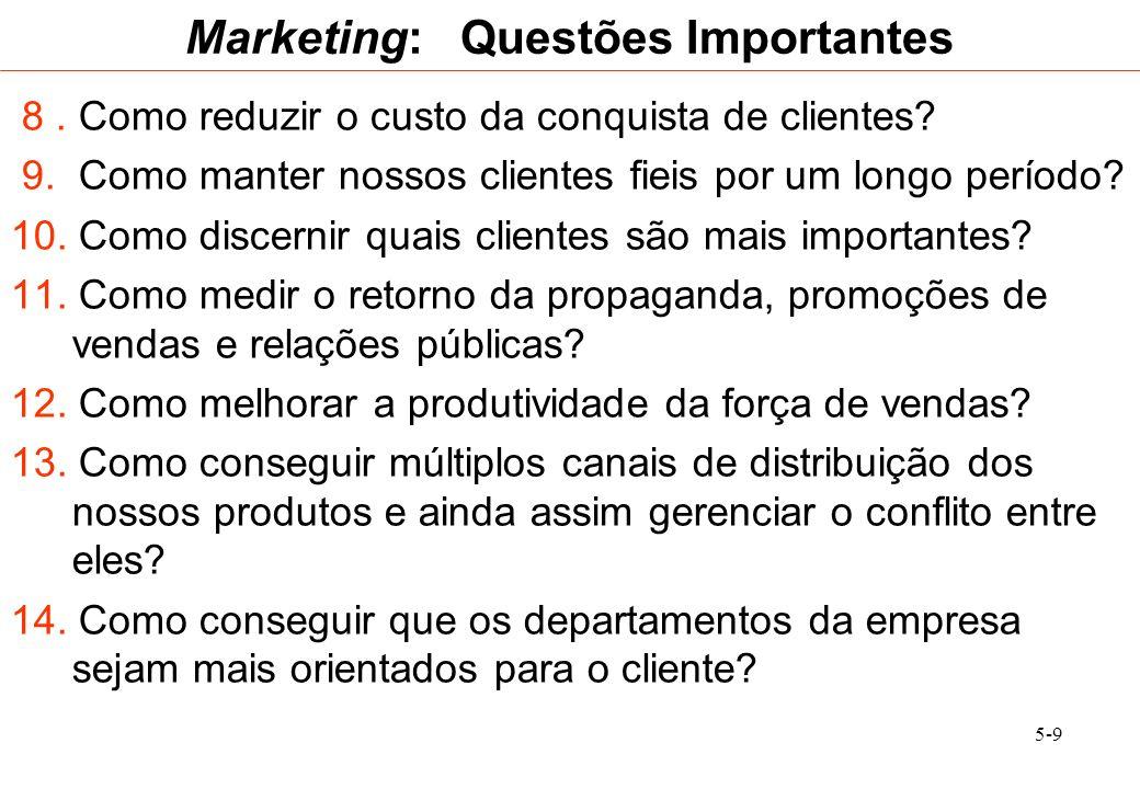 5-9 Marketing: Questões Importantes 8. Como reduzir o custo da conquista de clientes? 9. Como manter nossos clientes fieis por um longo período? 10. C