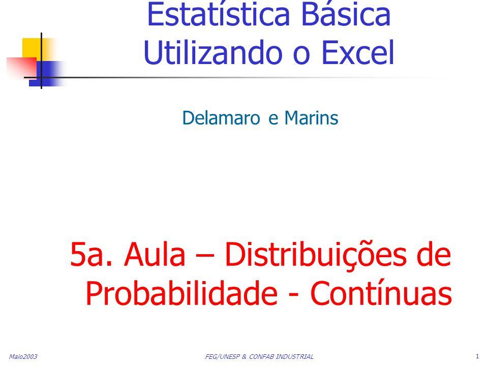 Maio2003 FEG/UNESP & CONFAB INDUSTRIAL 1 Estatística Básica Utilizando o Excel Delamaro e Marins 5a. Aula – Distribuições de Probabilidade - Contínuas