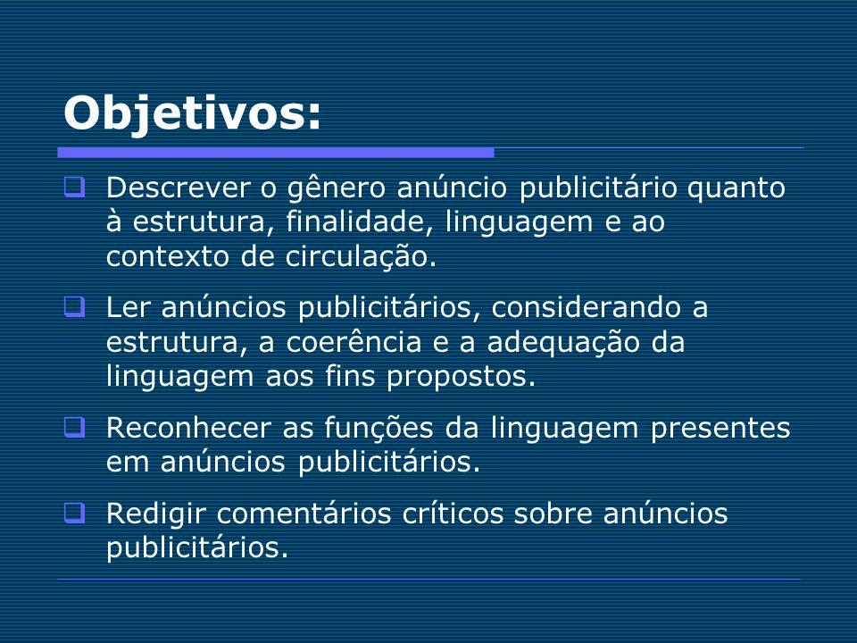 Objetivos: Descrever o gênero anúncio publicitário quanto à estrutura, finalidade, linguagem e ao contexto de circulação. Ler anúncios publicitários,