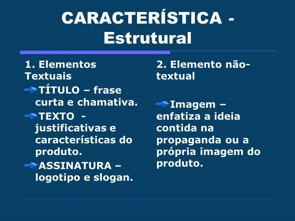 CARACTERÍSTICA - Estrutural 1. Elementos Textuais TÍTULO – frase curta e chamativa. TEXTO - justificativas e características do produto. ASSINATURA –