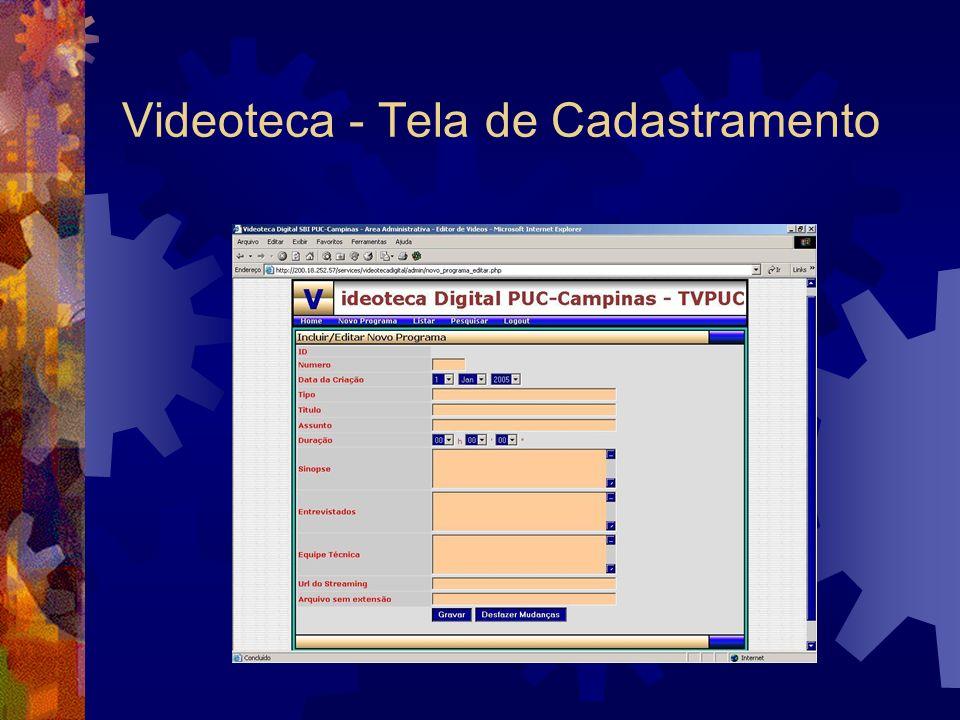Videoteca - Tela de Cadastramento