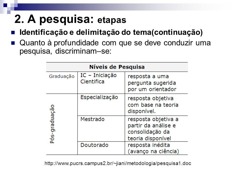 2. A pesquisa: etapas Identificação e delimitação do tema(continuação) Quanto à profundidade com que se deve conduzir uma pesquisa, discriminam–se: ht