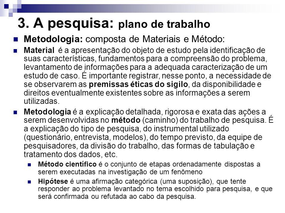 Metodologia: composta de Materiais e Método: Material é a apresentação do objeto de estudo pela identificação de suas características, fundamentos par